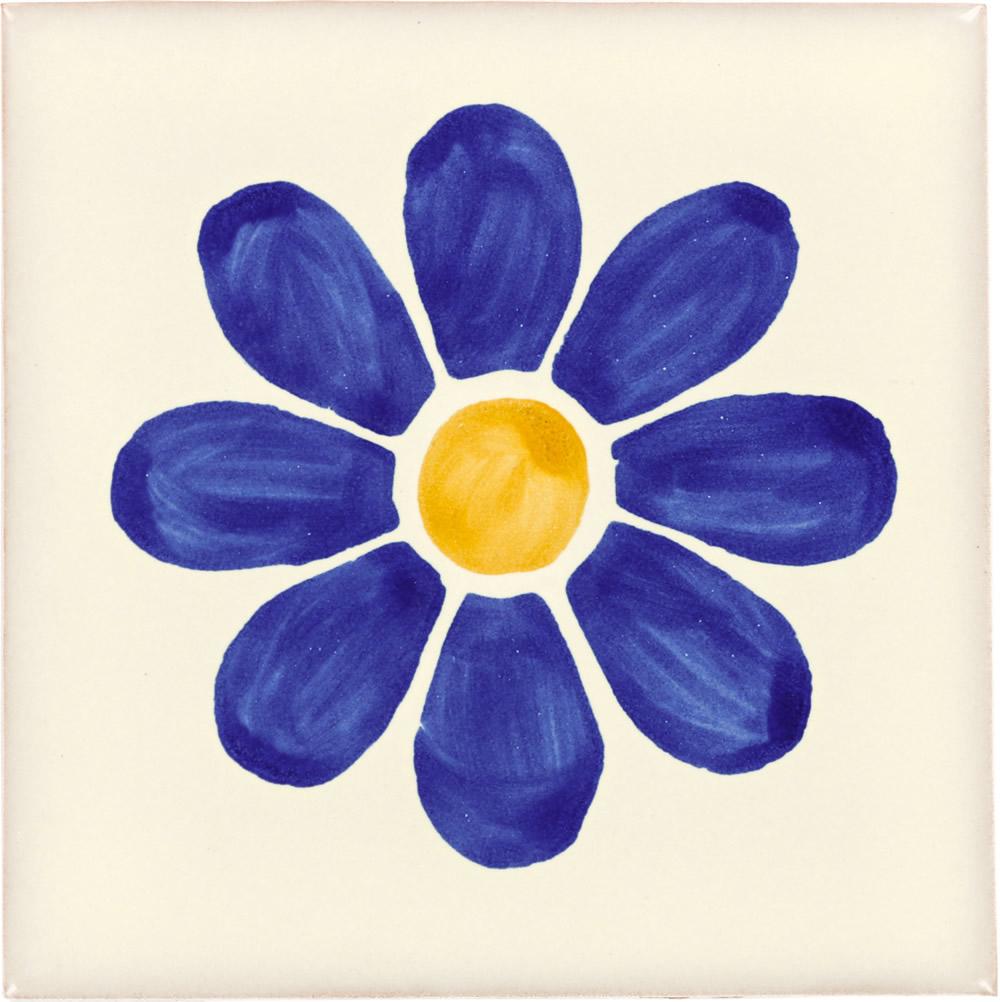 Blue Daisy Talavera Mexican Tile