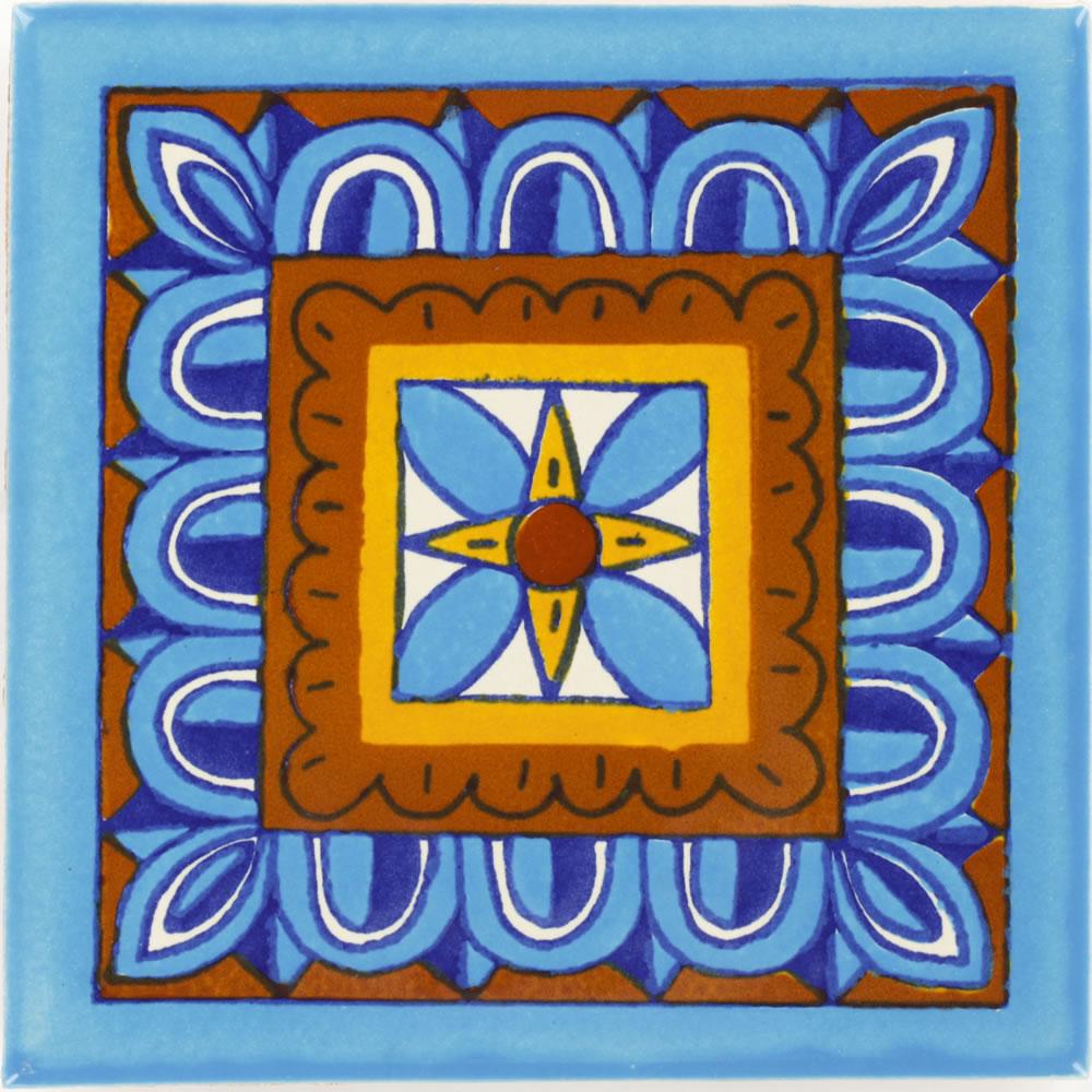 Turquoise Veleta Talavera Mexican Tile
