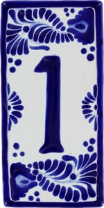 Hand painted House Number Ceramic Tile