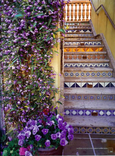 Mexican Talavera Tile On Staircase
