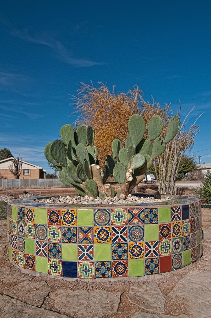 Mosaic-tile pot created with Mexican talavera tiles