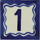 Hand Painted Mexican Tile Talavera - Blue House Number