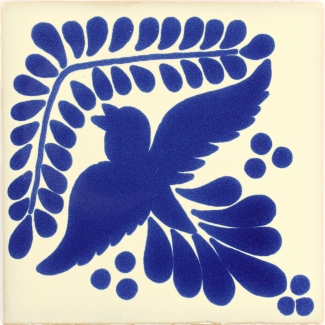 Hummingbird with Leaves Talavera Mexican Tile