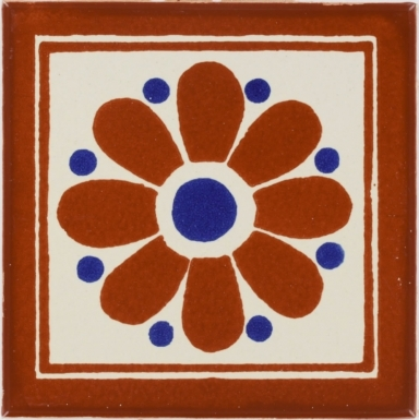 Daisy Terra Cotta Talavera Mexican Tile