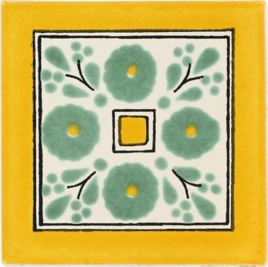 Amapola Verde Talavera Mexican Tile