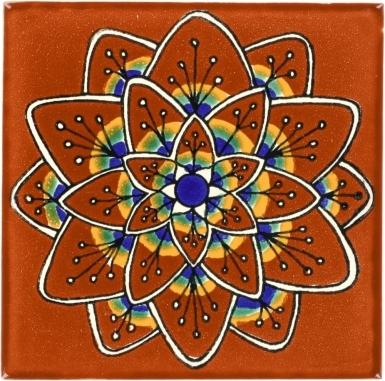 Terra Cotta Peacock Flower Talavera Mexican Tile