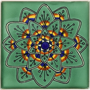 Green Peacock Flower Talavera Mexican Tile