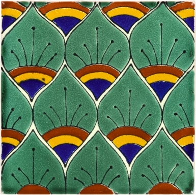 Green Peacock Feathers Talavera Mexican Tile