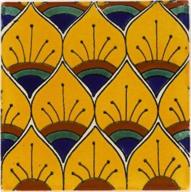 Yellow Peacock Feathers Talavera Mexican Tile