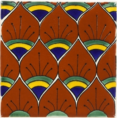 Terra Peacock Feathers Talavera Mexican Tile