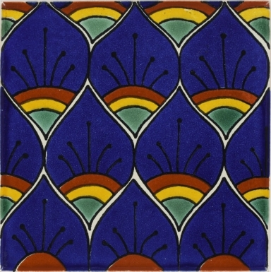Blue Peacock Feathers Talavera Mexican Tile