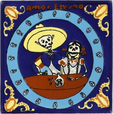 Amor Eterno with Blue Talavera Mexican Tile