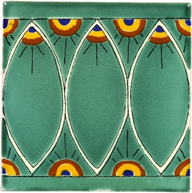 Green Peacock Talavera Mexican Tile
