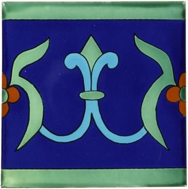 6x6 Flor de Liz Azul Border - Talavera Mexican Tile by Size