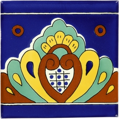 6x6 Blue Shell Border - Talavera Mexican Tile by Size