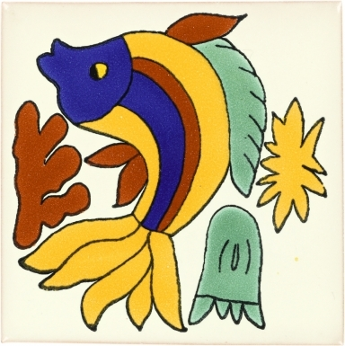 Dancing Fish Talavera Mexican Tile