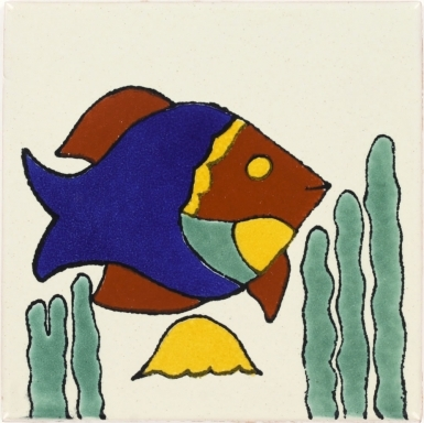 Fish & Jellyfish Talavera Mexican Tile