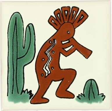 Kokopelli Talavera Mexican Tile