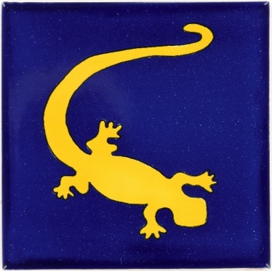 Yellow Gecko in Blue Talavera Mexican Tile