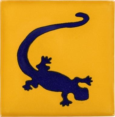 Blue Gecko in Yellow Talavera Mexican Tile