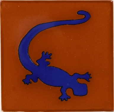 Blue Gecko in Terra Cotta Talavera Mexican Tile