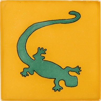 Green Gecko in Yellow Talavera Mexican Tile
