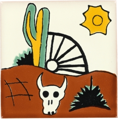 Cactus & Bull Talavera Mexican Tile