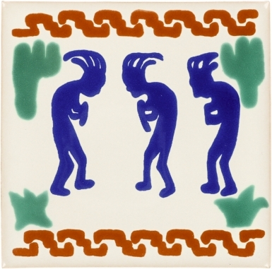 Three Kokopellis Talavera Mexican Tile