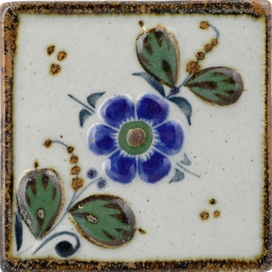 Flower With Leaves Tenampa Stoneware Tile