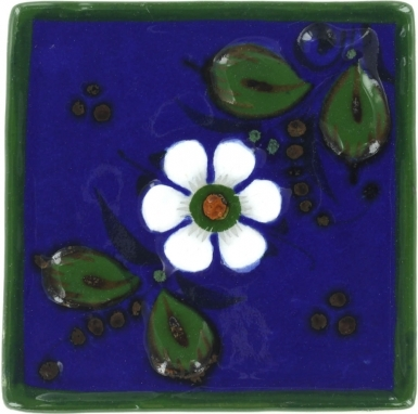 White Flower With Leaves Tenampa Stoneware Tile
