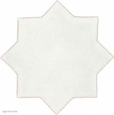 "4.25"" x 4.25"" Ivory Gloss Eight Point Star Mudejar - Tierra Hight Fired Glazed Field Tile"