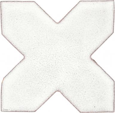 """4.25"""" x 4.25"""" Ivory Gloss Cross 1 - Tierra High Fired Glazed Field Tile"""