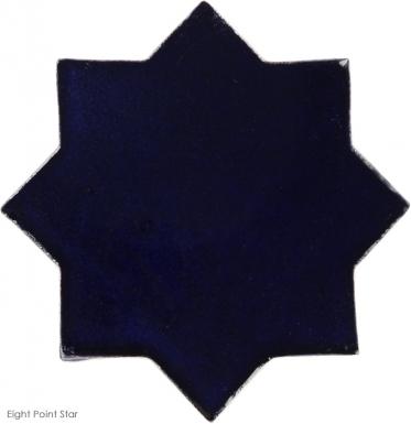 "4.25"" x 4.25"" Navy Blue Gloss Eight Point Star Mudejar - Tierra High Fired Glazed Filed Tile"