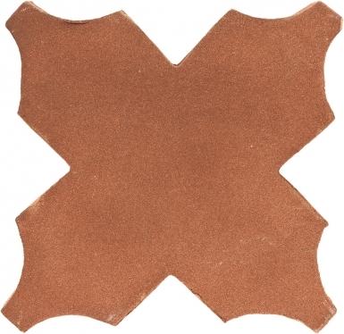 "4.75"" x 4.75"" Mudejar Cross - Tierra High Fired Floor Tile"