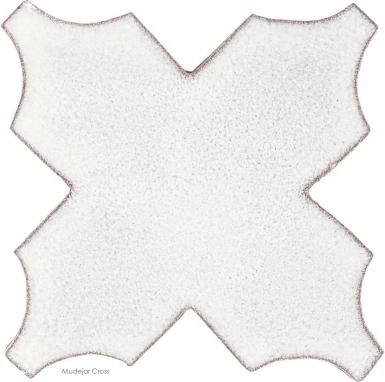 """4.75"""" x 4.75"""" Ivory Gloss Mudejar Cross - Tierra High Fired Glazed Field Tile"""