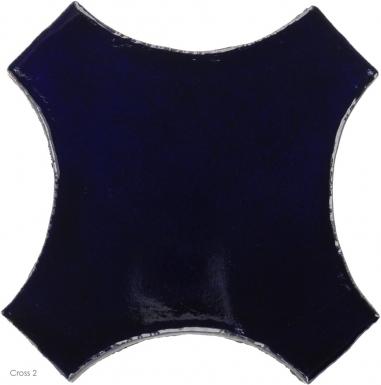 "6.5"" x 6.5"" Navy Blue Gloss Cross 2 - Tierra High Fired Glazed Field Tile"