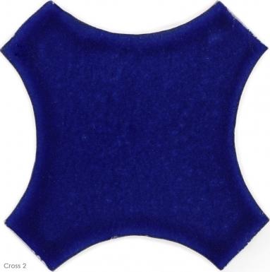 """6.5"""" x 6.5"""" Sapphire Blue Gloss Cross 2 - Tierra High Fired Glazed Field Tile"""