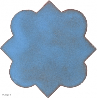 "4.625"" x 4.625"" Turquoise Gloss Mudejar 2 - Tierra High Fired Glazed Field Tile"