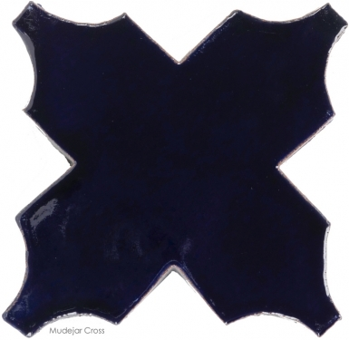 "4.75"" x 4.75"" Navy Blue Gloss Mudejar Cross - Tierra High Fired Glazed Field Tile"