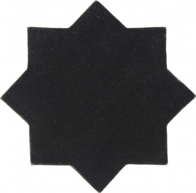 "4.25"" x 4.25"" Slate Black Low-Luster Eight Point Star Mudejar - Tierra High Fired Glazed Field Tile"