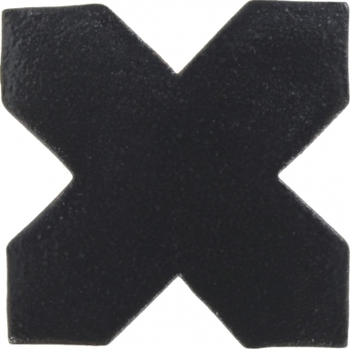 "4.25"" x 4.25"" Slate Black Low-Luster Cross 1 - Tierra High Fired Glazed Field Tile"
