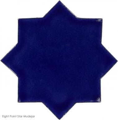 "4.25"" x 4.25"" Sapphire Blue Gloss Eight Point Star Mudejar - Tierra High Fired Glazed Field Tile"