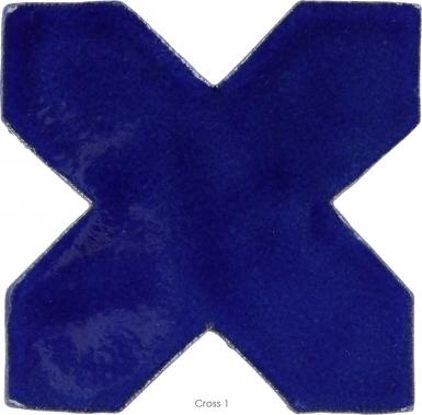 """4.25"""" x 4.25"""" Sapphire Blue Gloss Cross 1 - Tierra High Fired Glazed Field Tile"""