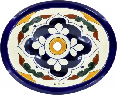 Guadalajara Talavera Ceramic Oval Drop In Bathroom Sink