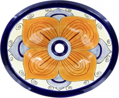 Flor Sevillana 2 Talavera Ceramic Oval Drop In Bathroom Sink