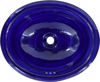 Swirling Blue Talavera Ceramic Oval Drop In Bathroom Sink