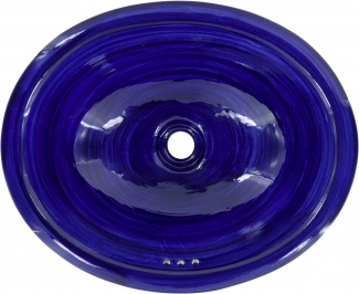 swirling blue talavera ceramic oval drop in bathroom sink