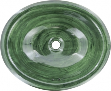 Swirling Green Talavera Ceramic Oval Drop In Bathroom Sink