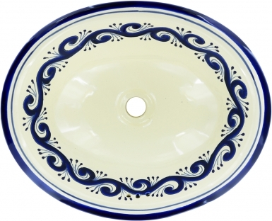 Ola Azul Talavera Ceramic Oval Drop In Bathroom Sink