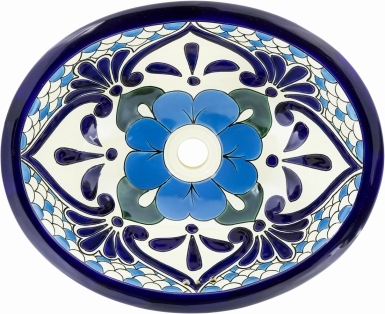 Polanco 3 Talavera Ceramic Oval Drop In Bathroom Sink